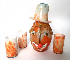 italian murano glass clown decanter three glasses