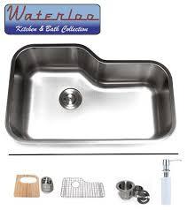 30 waterloo premium stainless steel undermount offset single bowl kitchen sink