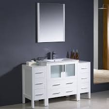 fresca torino white single sink vanity with white ceramic top common 55 in