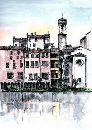 marvellous river city painting this city scene along a river projects beautiful reflections this ink and