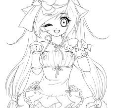 Cute Anime Cat Girl Coloring Pages