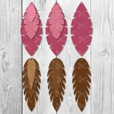 faux leather earring svg dxf png cut files roll