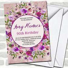90 Birthday Party Invitations Details About Pink Purple Watercolour Floral 90th Birthday Party Invitations