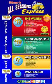 car wash works express exterior car wash menu