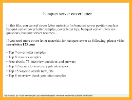 Cover Letter For A Server Cover Letter For Server Position Banquet Server Application Letter