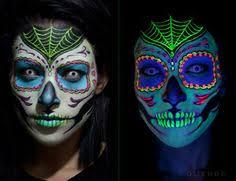 black light responsive sugar skull makeup 16 day of the dead makeup ideas