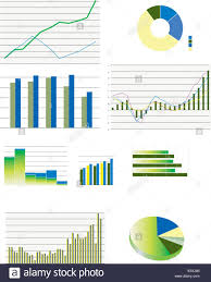 Stock Performance Charts Pie Charts Bar And Line Business Graphs Showing Performance