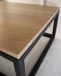 white oak top with black steel base coffee table