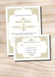 Art Deco Gatsby Wedding Invitation And Response Card Invitation