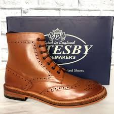 distress s catesby tan all leather goodyear welted sole brogue derby boot men shoes