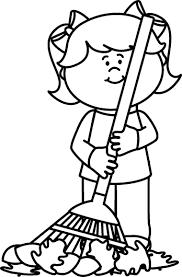 rake clipart black and white. Modren Black Black And White Girl Raking Leaves To Rake Clipart And L