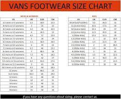 Youth Size 2 Shoes Chart Vans Shoe Size Chart Youth Www Bedowntowndaytona Com