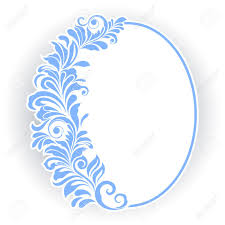 vintage frame design oval. Vector - Vintage Oval Frame With Blue Floral Ornament. Design