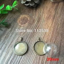 20sets lot silver bronze color 20mm glass dome globe display pendant base set