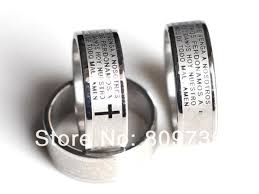 6pcs etched en prayer cross ring snless steel rings fashion catholic religious jewelry free