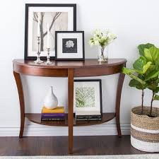half table for hallway. Interesting Brown Wooden Half Moon Entry Table For Hallway R