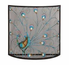 hand crafted colorful peacock design in a bay window shaped metal fireplace screen great for a smaller den or bedroom fireplace
