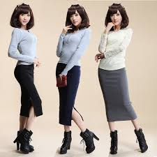 Hot Summer <b>Autumn Winter Sexy Cotton</b> Skirts High Waist Stretch ...