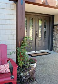 exterior door painting ideas.  Ideas Sherwin Williams Gauntlet Gray Painted Front Door With Stone And Cream  Vinyl Siding Kylie M Intended Exterior Door Painting Ideas I