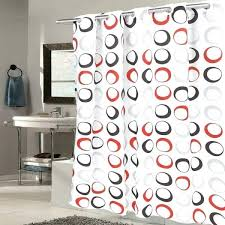red shower curtains on circles fabric with built in hooks black grey curtain tractor