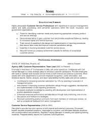 Resume Template Resume Summary Examples For Customer Service Free