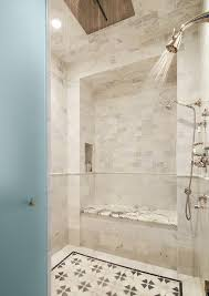 frosted glass door opens to shower with rain shower head view full size