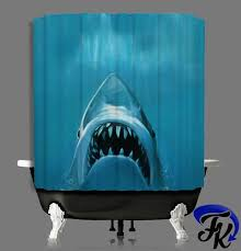 jaws shark shower curtain and liners modern bathroom