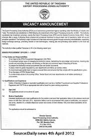 Senior Procurement Officer Ii Tayoa Employment Portal