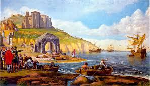 Resultado de imagen de Partida del puerto de Palos 1492, pintura de Evaristo Domínguez