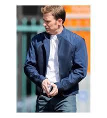 captain america the winter solr chris evans blue leather jacket
