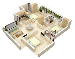 Small Picture Modern Bungalow Floor Plan 3d small 3 bedroom floor plans House