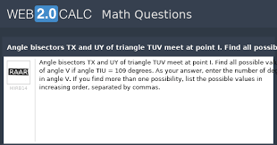 View Question Angle Bisectors Tx And Uy Of Triangle Tuv