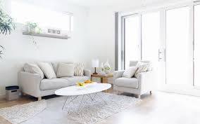 alluring white modern living room design ideas with sofa plus oval dining table on fur rug