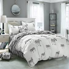 king twin size zebra print bedding sets 4pc bed sheet 100 polyester zebra print duvet cover kids zebra bedlinen in bedding sets from home garden on