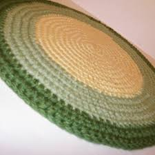 crochet rag rug thick and plush area rug pet bed round in lemo