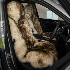 sheepskin seat cover for cars brown tip color