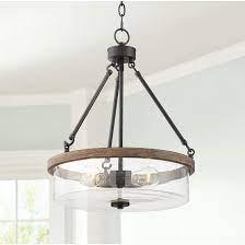 wood grain 3 light drum pendant