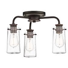 kichler 43057oz braelyn 3 light 18 wide chandelier with seedy glass shades olde bronze