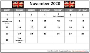 Monthly 2020 The United Kingdom Uk Holidays Calendar