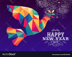 Happy new year 2019 dove triangle hipster color Vector Image
