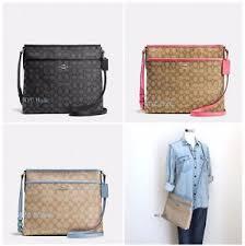 Image is loading New-Coach-F58297-Signature-File-Bag-Crossbody-Handbag-