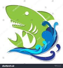 shark water graphic art paper cut stock vector  shark in water graphic art in paper cut style simple icon illustration