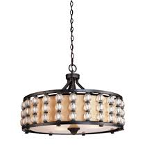 ina lares charleston series cd2034 pendant chandelier 25 wide x 23 tall multi tone slate amber toned hardback shade four 60wt standard base bulbs