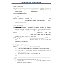 sponsorship agreement 15 sponsorship agreement templates free sample example format