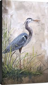 coastal in the reeds blue heron a painting print on wrapped canvas