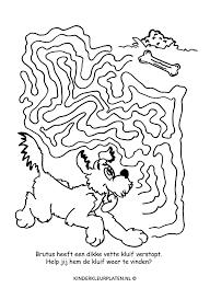 Kleurplaat Spel Doolhof Brutus Hond Bot Spelletjes