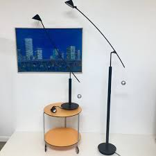 Pair Of Artemide Halogen Cantilevered Lamps Named Model Nestore By Carlo Forcolini Made In Italy