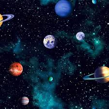 Space Pattern Enchanting Arthouse Cosmos Space Pattern Planets Earth Childrens Wallpaper