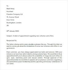 Free 10 Appointment Letters In Free Samples Examples