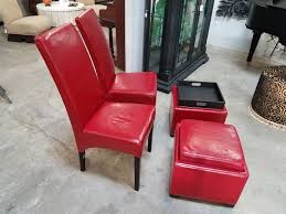 red leather chairs with matching tray ottoman